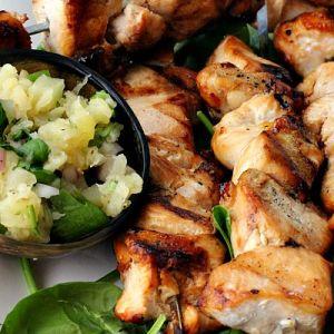 Mini Greek Grilled Chicken Souvlaki with Green Pepper